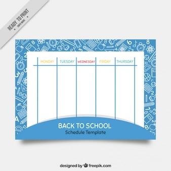 Calendário bonito da escola com desenhos