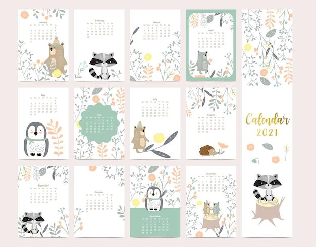 Calendário bonito da floresta 2021 com urso, gambá, pinguim, folhas para crianças, criança, bebê
