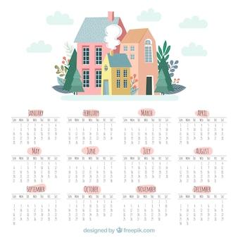 Calendário bonito de 2018 com casas