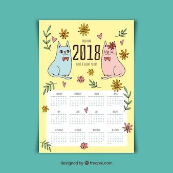Calendário bonito de 2018 com dois gatinhos desenhados a mão