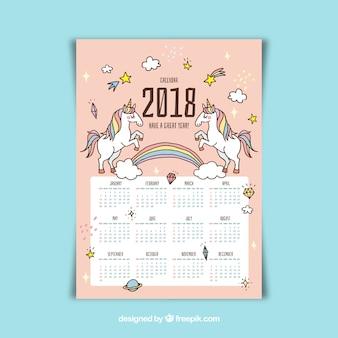 Calendário bonito de 2018 com unicórnios desenhados à mão