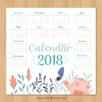 Calendário bonito de 2018