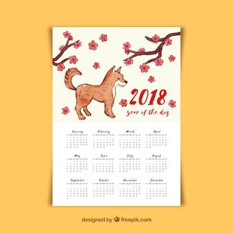 Calendário chinês de ano novo de aquarela