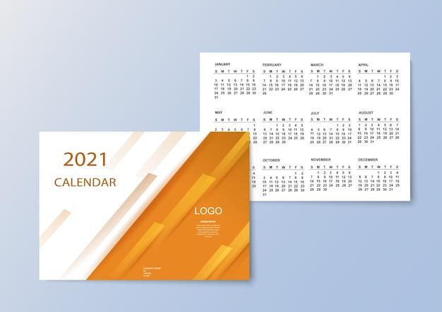 Calendário colorido com meses para 2021.