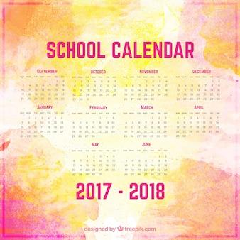 Calendário colorido da escola aquarela