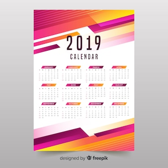 Calendário colorido das formas 2019 abstratas