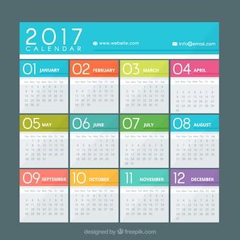 Calendário colorido de 2017