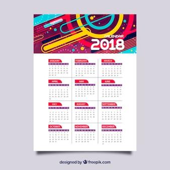 Calendário colorido de 2018