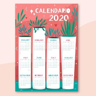 Calendário colorido desenhado de mão