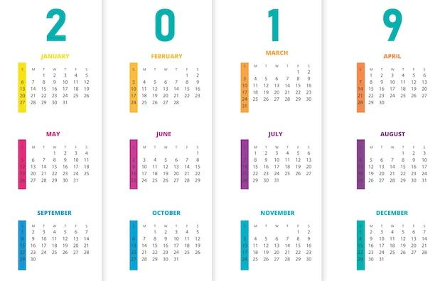 Calendário colorido do ano 2019