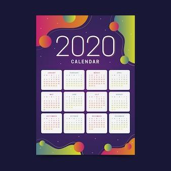 Calendário colorido do ano novo 2020