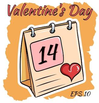 Calendário com data de 14 de fevereiro. dia de são valentim. estilo cartoon