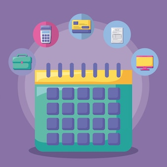 Calendário com economia e financeiro com conjunto de ícones