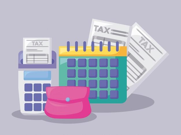Calendário com economia e financeiro