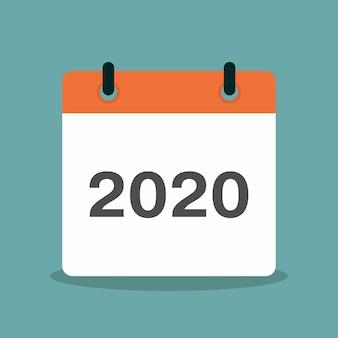 Calendário com ilustração em vetor design plano ano 2020