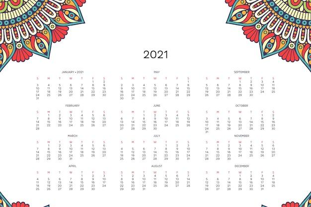 Calendário com mandalas.