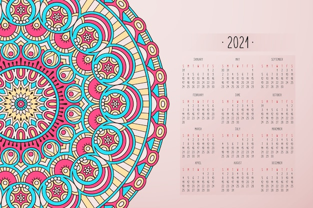 Calendário com ornamento de estilo escuro de mandalas