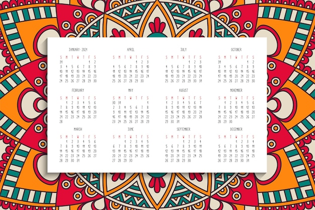 Calendário com ornamento de mandalas
