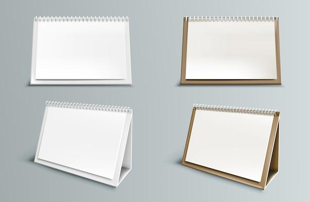 Calendário com páginas em branco e espiral. vista frontal e lateral do calendário de papel horizontal de mesa isolada