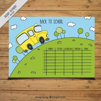 Calendário com um ônibus escolar