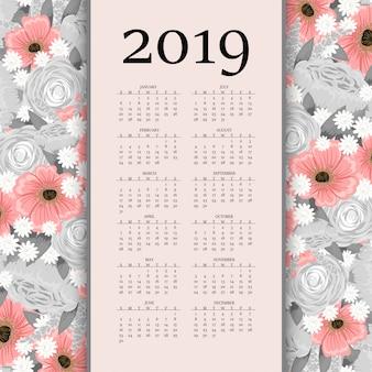 Calendário criativo moderno 2019 com flores