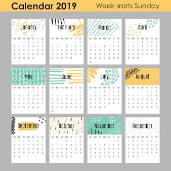 Calendário criativo moderno 2019.