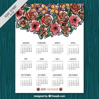 Calendário da aguarela com flores decorativas