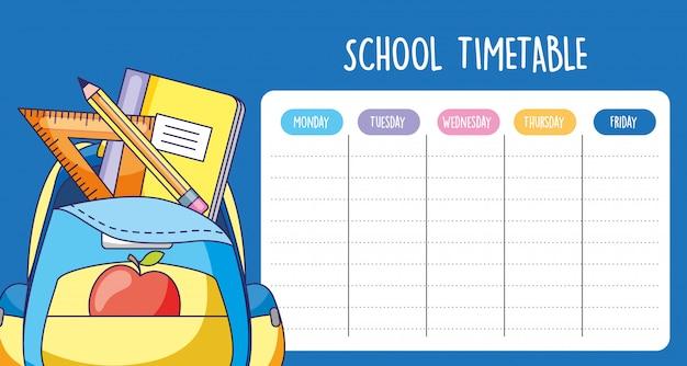 Calendário da escola com bolsa com suprimentos shool