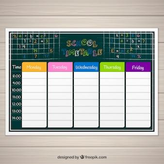 Calendário da escola do quadro-negro