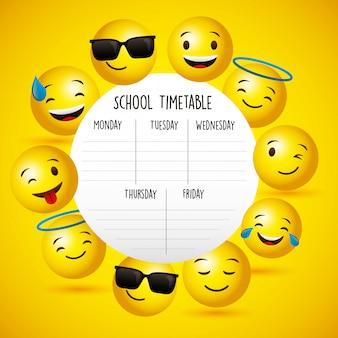 Calendário da escola entre emojis