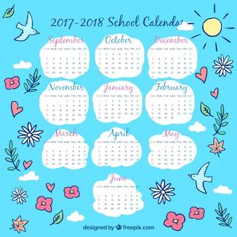 Calendário da escola sky com desenhos florais