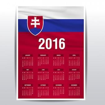Calendário de 2016 eslováquia