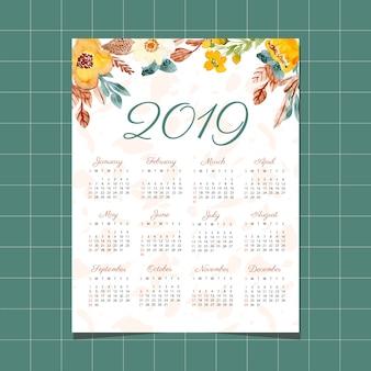 Calendário de 2019 com aquarela floral e textura de fundo