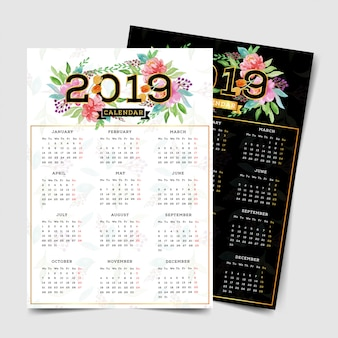 Calendário de 2019 com elementos florais em aquarela