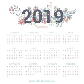 Calendário de 2019 com elementos florais