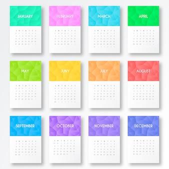 Calendário de 2019 com formas coloridas