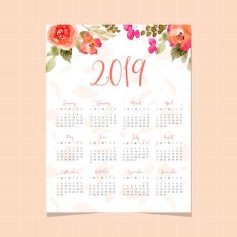 Calendário de 2019 com fundo aquarela muito floral