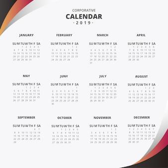Calendário de 2019 com ondas abstratas