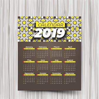 Calendário de 2019 com padrões coloridos