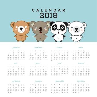 Calendário de 2019 com ursos bonitos. mão, desenhado, vetorial, ilustração