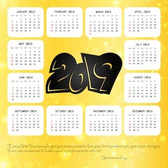 Calendário de 2019 com vetor de design criativo