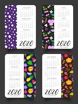 Calendário de 2020 quatro estações