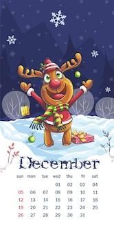 Calendário de 2021 dezembro. desenho animado de cervo à noite