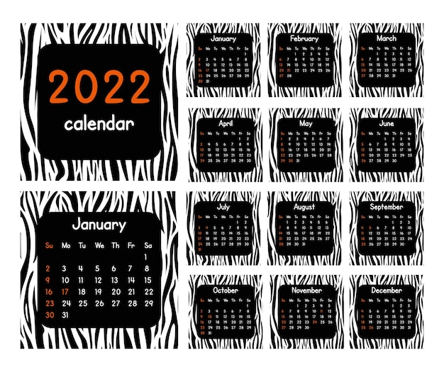 Calendário de 2022 anos. design moderno com padrão de pele de animal. conjunto de páginas de 12 meses. ilustração em vetor preto e branco.