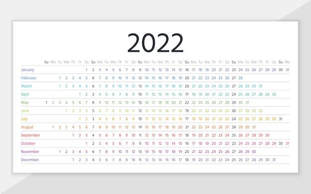 Calendário de 2022 anos. modelo de planejador linear. calendário horizontal anual. a semana começa no domingo. ilustração.