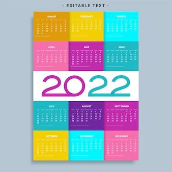 Calendário de 2022 semana com início no domingo modelo de planejador de design corporativo