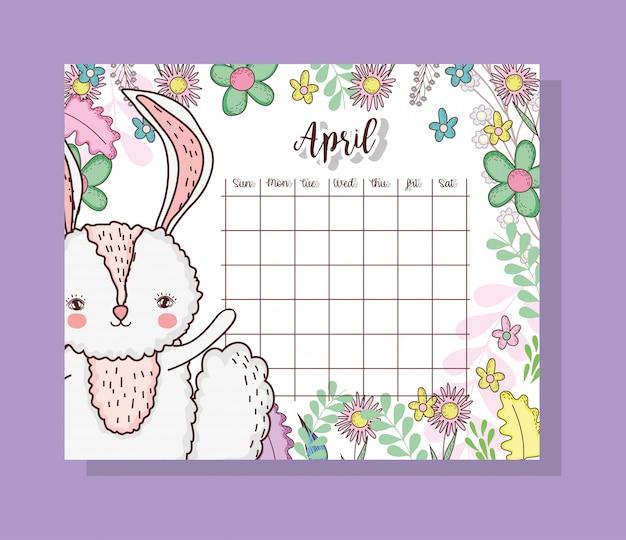 Calendário de abril com animal coelho cute