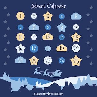Calendário de advento bonito com dias em forma de nuvens, estrelas e baubles