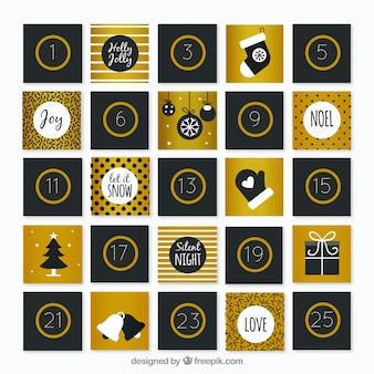Calendário de advento bonito em preto e dourado