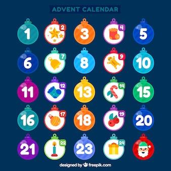 Calendário de advento com dias em forma de baubles